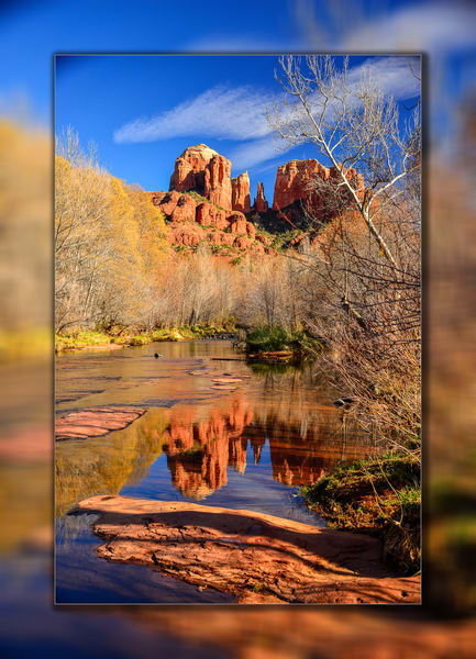 Sedona   Cathedral Rock Blue V 3 D Photography Art | Whispering Impressions