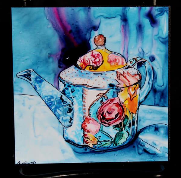 Mum's Teapot (Blue) | Karen Bishop Artist