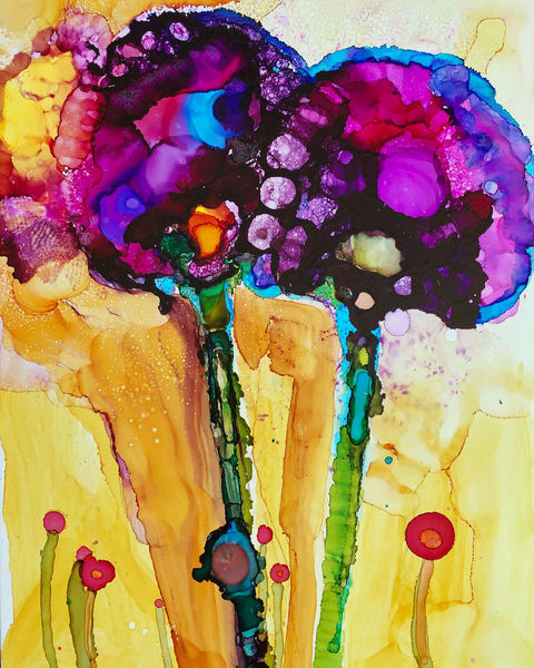 "Stunning expressionist floral painting by Monique Sarkessian my Heaven landscape paintings. This is ""Heaven Glory Carriers 15"" of wild growing allium."