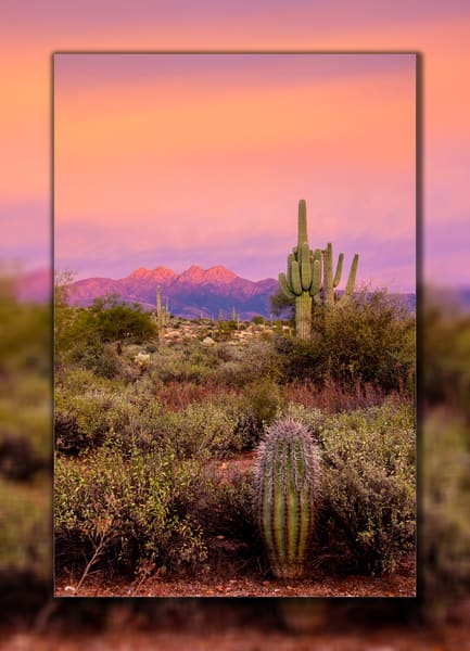 Four Peaks   Sunset Pink V 3 D Photography Art | Whispering Impressions