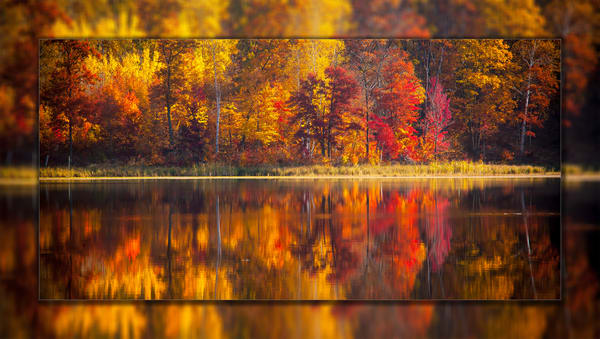 Fall Reflection Pano 3 D Photography Art   Whispering Impressions
