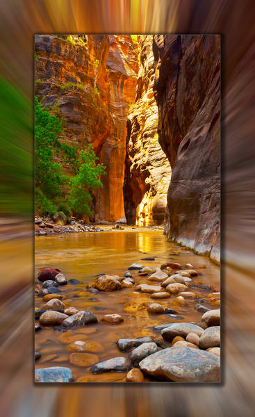 Zion   Narrows Pano 3 D Photography Art | Whispering Impressions