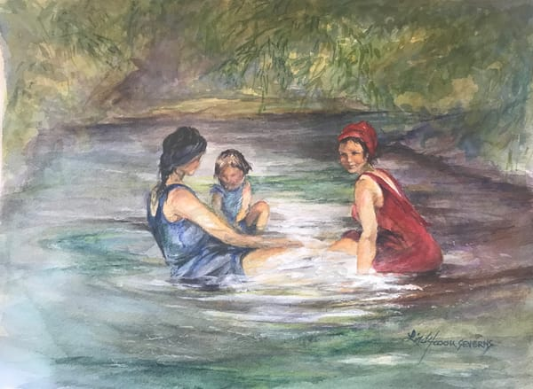 Lindy Cook Severns Art | Beauties Bathing in 1927, original watercolor
