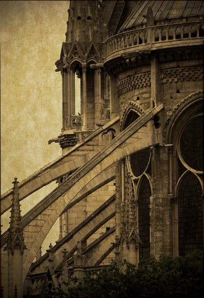The flying buttresses of Notre Dame cathedral.