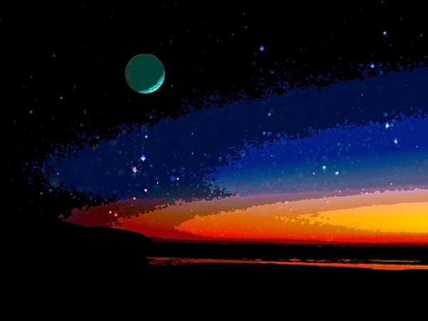 Space Fantasy Art - Sunset Planet - Don White Art Dreamer
