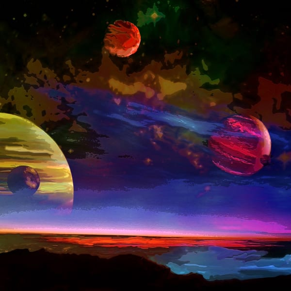 Space Fantasy Art - Jupiter's Moons - Don White Art Dreamer