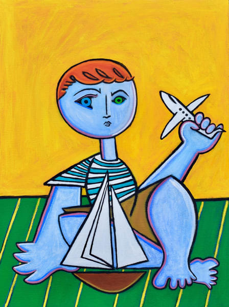 Boy with Boat and Plane Original Oil Painting by Paul Zepeda Available for Purchase - Wet Paint NYC Gallery