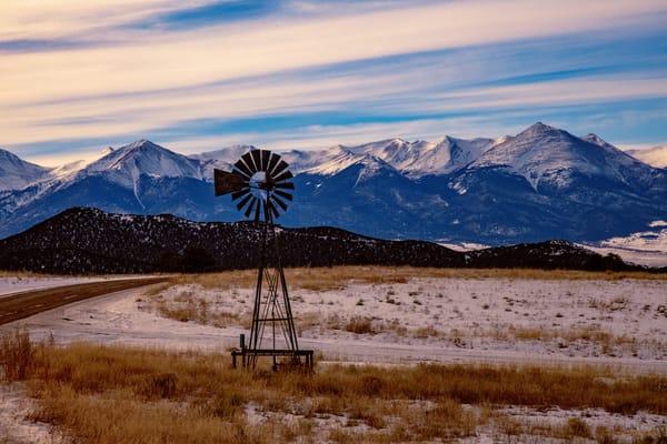 Windmill Sangre De Cristo Mountains 3359   Photography Art | Koral Martin Healthcare Art