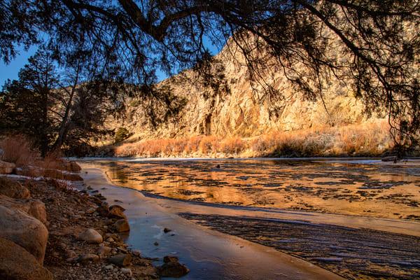 Arkansas River With Ice In Colorado 0644   Photography Art | Koral Martin Healthcare Art