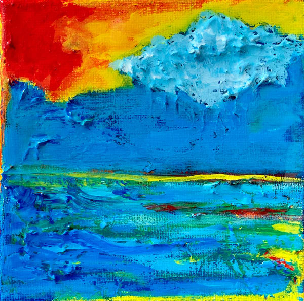 Cloud Over the Sea Original Painting by Paul Zepeda Available for Purchase - Wet Pet NYC Gallery