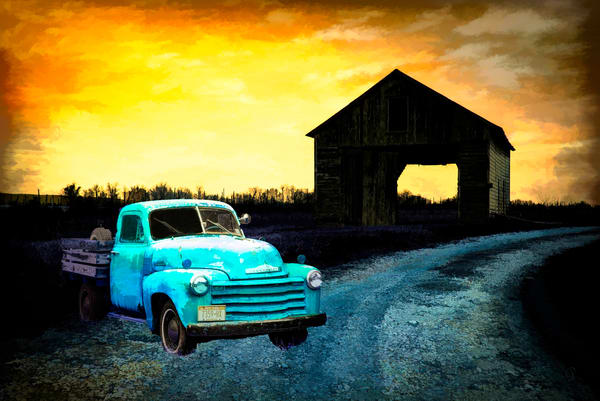 Vintage Chevy Truck In Sunset  Photography Art | Pam Phillips Photography