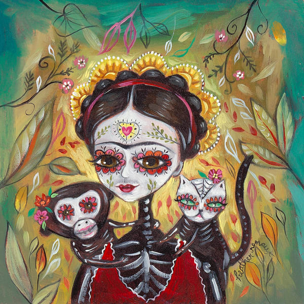 Sugar Skull Frida With Monkey & Cat, by Heather Renaux