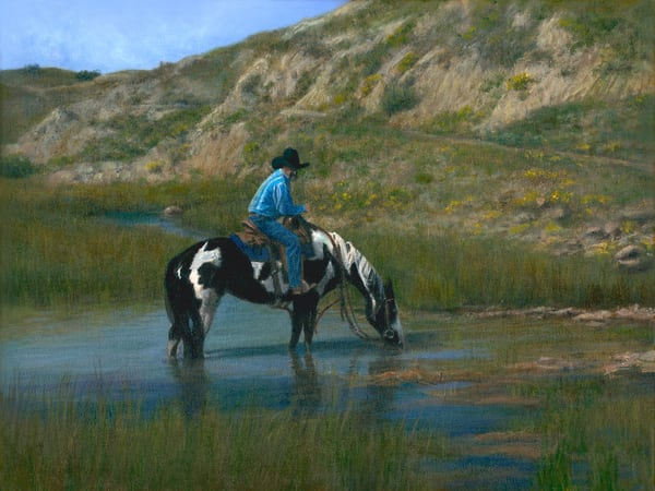 cowboy, western-painting, badlands