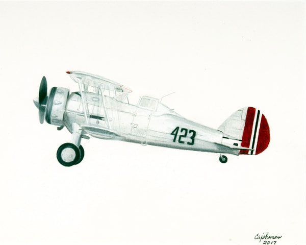 Gloster Gladiator, From an Original Colored Pencil Painting