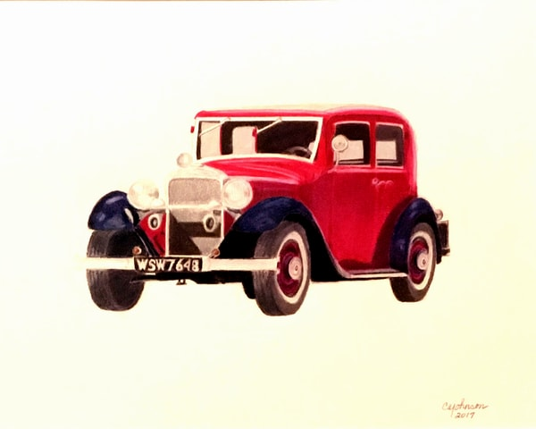 Old Packard, From an Original Colored Pencil Painting