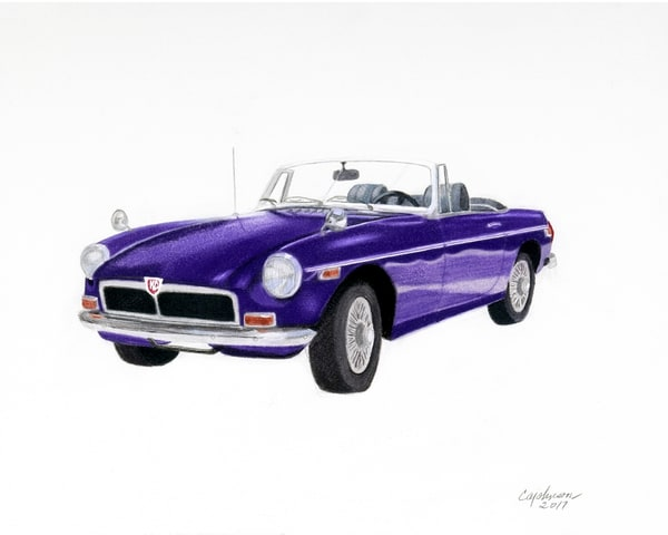 1974 Classic MGB, From an Original Colored Pencil Painting