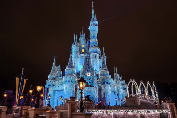 Teal Cinderella Castle at Christmas - Walt Disney Christmas Art