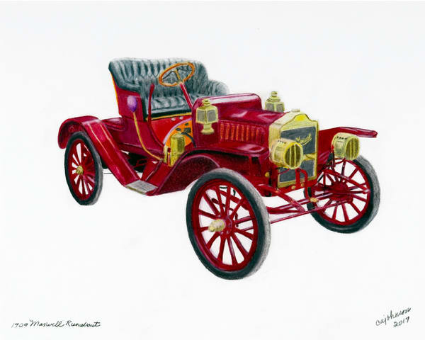 1909 Maxwell Runabout, From an Original Colored Pencil Painting