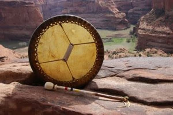Authentic Native American bison drum by artisan Paul Tohlakai