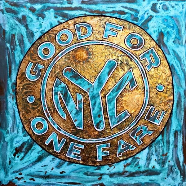 Nyc Subway Token Painting Paul Zepeda Art | Wet Paint NYC