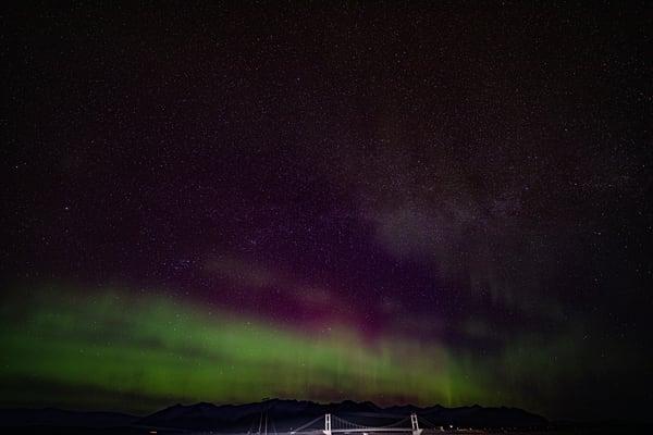 Aurora Over Jökulsárlón Bridge Photography Art | Michael Scott Adams Photography