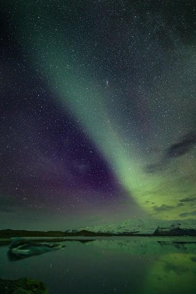 Aurora Over Jökulsárlón Lagoon 3 Photography Art | Michael Scott Adams Photography