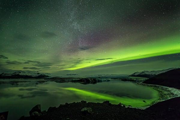 Aurora Over Jökulsárlón Lagoon 1 Photography Art | Michael Scott Adams Photography