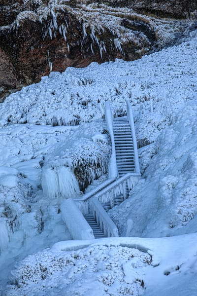 Snowy Stairs To Nowhere Photography Art | Michael Scott Adams Photography