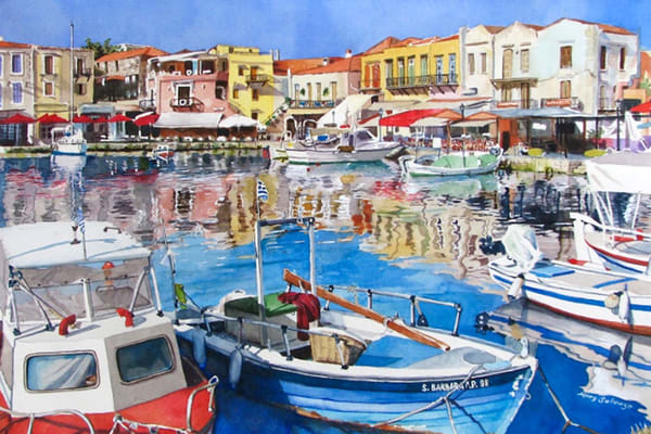 Venetian Harbor, Rethymno, From an Original Watercolor Painting
