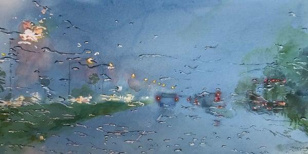 Driving Rain, From an Original Watercolor Painting