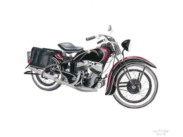 1930's Harley Knucklehead, From an Original Colored Pencil Painting