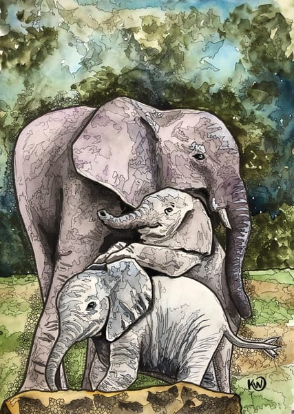 Elephant Mom   Limited Edition Art | Water+Ink Studios