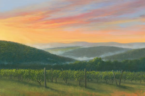 print, sunrise-painting, winery-painting, vineyard, millbrook-winery