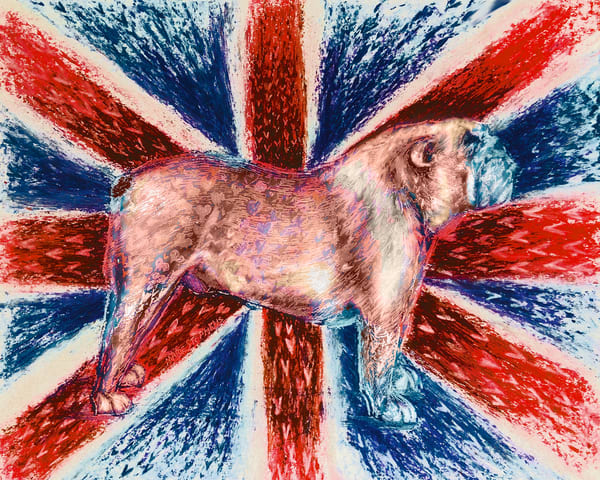 English Bulldog Art Print With British Flag by Marie Stephens Art