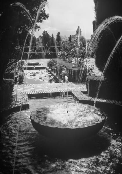Alhambra and Generalife, circular fountain, Black and White