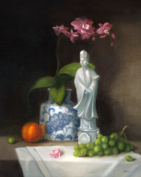 Still-life, Asian-statue, Asian-figurine, orchid