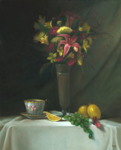still-life, print, stargazer-lilies, floral-painting, teatime