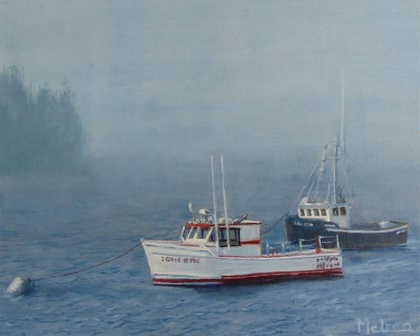 Anchored, Too Foggy , Oil Painting