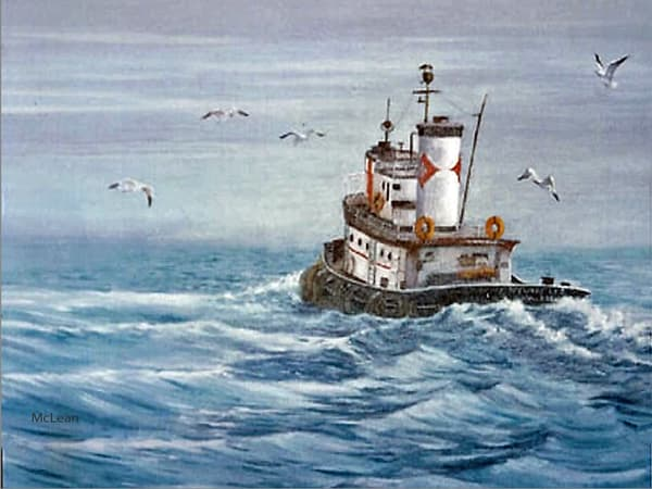 Delaware Tug , Oil Painting