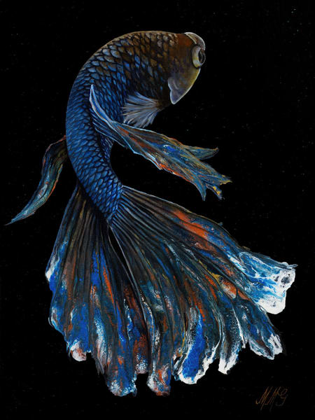 Neptune Betta | Original Mixed Media Painting Art | MMG Art Studio | Fine Art Colorado Gallery