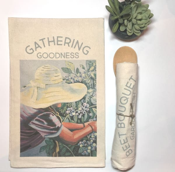 Gathering Goodness Kitchen Towel Art by kristinwebster
