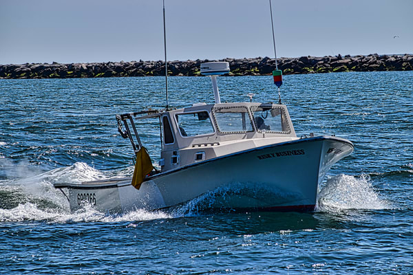 Lobster Boat Bow Wave by Keith R Wahl, Made From RI Gallery