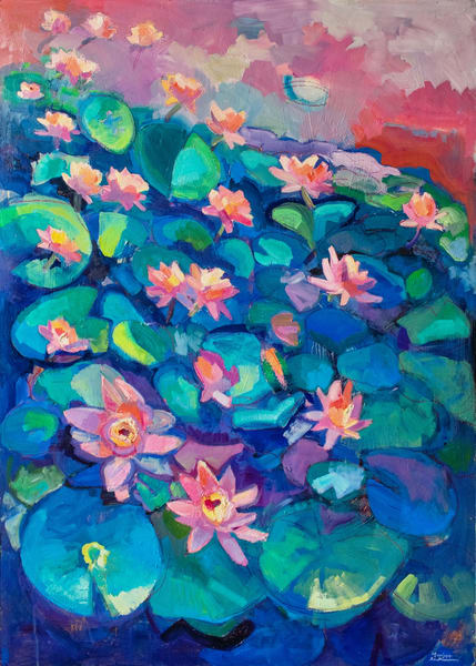 """""""Forgiveness"""" (Waterlilies) plein air oil painting by Monique Sarkessian made with oil on wood measures 39""""x28"""" framed dimensions are 45""""x34""""."""