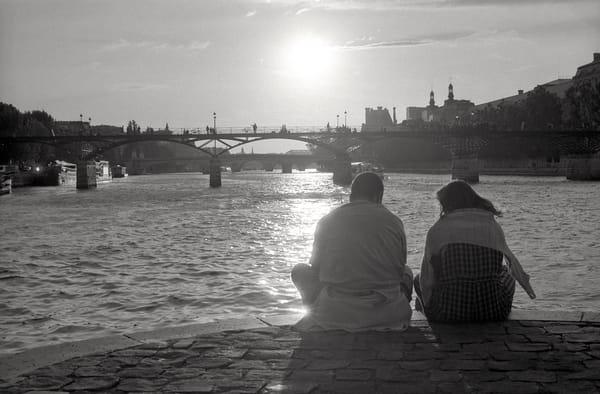 River Seine, couple, sunset