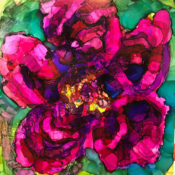"""Glory Carriers Peony Joy 1"" of wild growing peony flowers with alcohol inks by Monique Sarkessian on wood panel. Will be framed with a white wood floater frame."