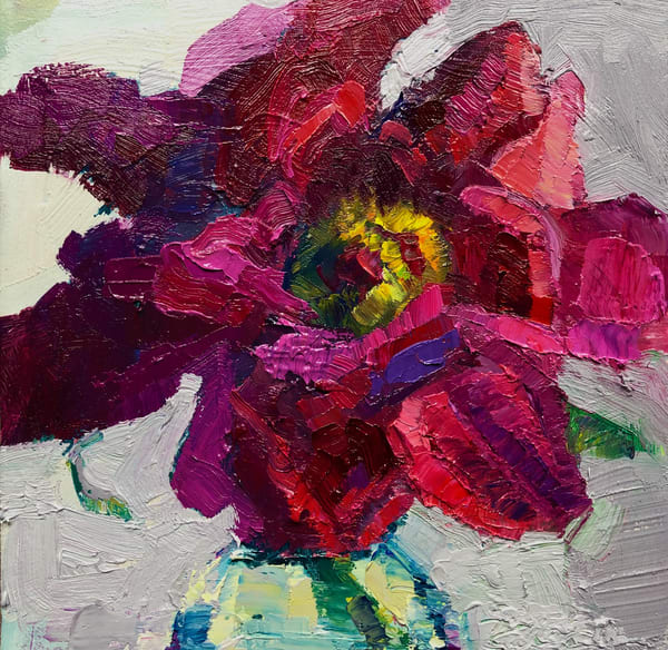 """Glory Carriers Peony Joy 1"" of wild growing peony flowers with oil paint by Monique Sarkessian on wood panel. Will be framed with a white wood floater frame."