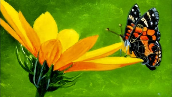 A Butterfly Treat, Oil Painting