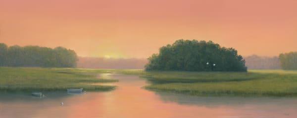 egrets, marsh, Maryland, panaromic, sunset, landscape