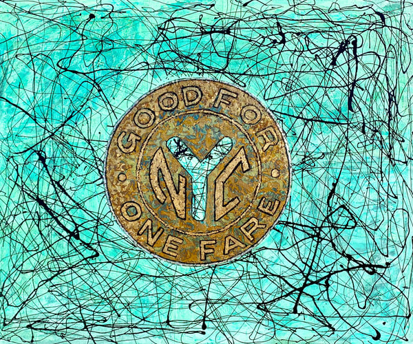 Patina Abstract Expressionist Vintage Nyc Subway Token Painting Artist Paul Zepeda Art | Wet Paint NYC