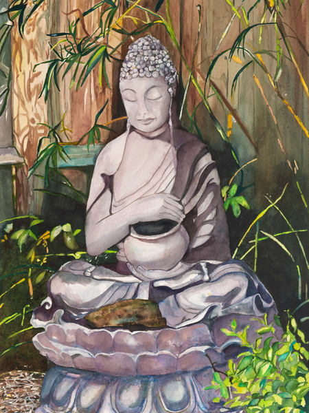 Garden Buddha, Original Watercolor Painting